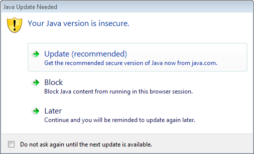 Java Update Prompt
