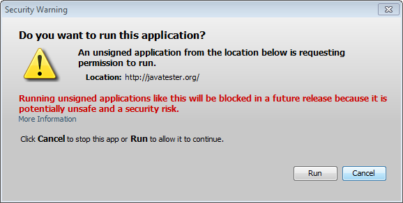 Javatester with out of date JRE7 - medium security, updates disabled 7u40