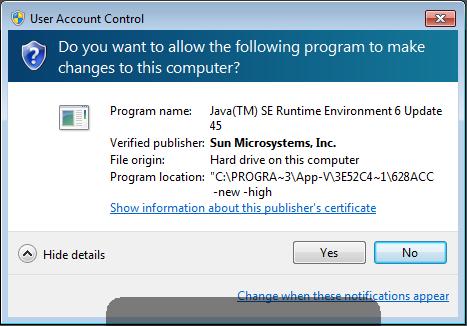 Java UAC Prompt
