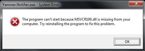 MSVCR100 error