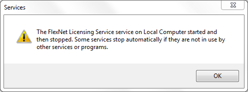 Error starting Flexnet service