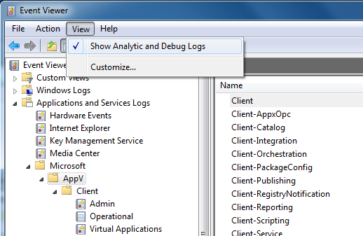 Event Viewer - Show Debug Log