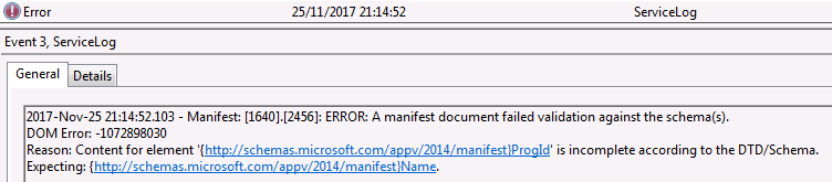 Manifest Error